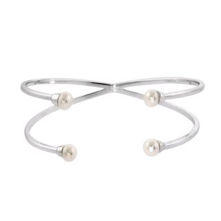 Eternally Haute Open 4-pearl Cuff Bangle - Silver
