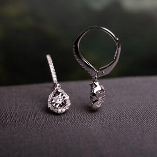 Laura Ashley 1/2ct TDW Diamond Teardrop Halo Leverback Earrings in Sterling Silver