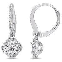Laura Ashley 2/5ct TDW Diamond Flower Halo Leverback Earrings in Sterling Silver