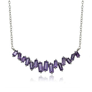 Glitzy Rocks Sterling Silver Amethyst Baguette Collar Necklace