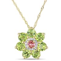 Laura Ashley Peridot Pink Sapphire and Diamond Flower Necklace in Yellow Plated Sterling Silver