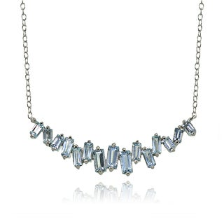 Glitzy Rocks Sterling Silver Blue Topaz Baguette Collar Necklace