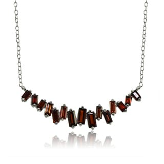 Glitzy Rocks Sterling Silver Garnet Baguette Collar Necklace