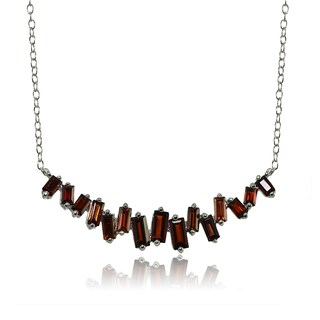 Glitzy Rocks Sterling Silver Garnet Baguette Collar Necklace