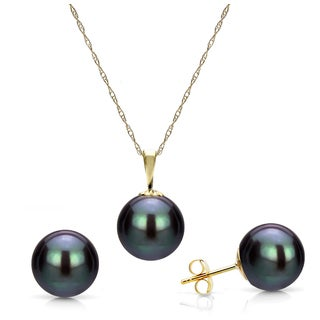 DaVonna 14k Yellow Gold 10-10.5mm Black Freshwater Pearl Pendant Necklace and Stud Earrings Set, 18""
