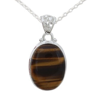 Handcrafted Sterling Silver 'Hypnotic Feline' Tiger's Eye Necklace (India)