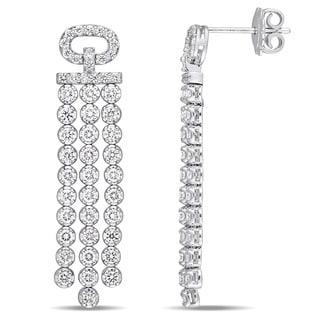 Miadora Signature Collection 18k White Gold 2 1/5ct TDW Diamond Tassel Dangle Earrings