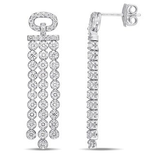 Miadora Signature Collection 18k White Gold 2 1/5ct TDW Diamond Tassel Dangle Earrings