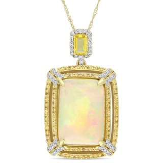 Miadora Signature Collection 14k Yellow Gold Ethiopian Opal Yellow Sapphire and 1/3ct TDW Diamond Double Halo Necklace