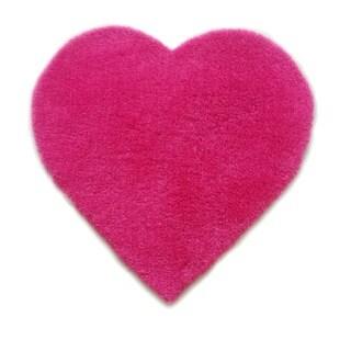 Hand Tufted Heart Shaped Pink Shag Area Rug (3' x 3')