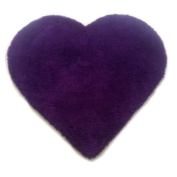 Shop Microfiber Hand Tufted Heart Shaped Purple Shag Area