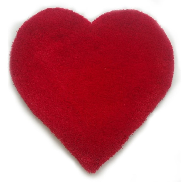 Shop Hand Tufted Heart Shaped Red Shag Area Rug 3 X 3