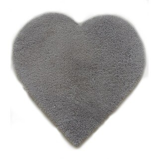 Microfiber Hand-tufted Heart-shaped Silver Shag Area Rug (3' x 3')