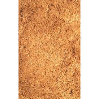 Hand-tufted Solid Dark Gold Shag Area Rug (6'6 x 9'2)