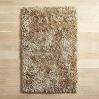 Solid Hand-tufted Light Gold Shag Area Rug (6'6 x 9'2)