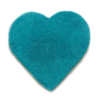Turquoise Microfiber Hand-tufted Heart-shaped Shag Area Rug (3' x 3')