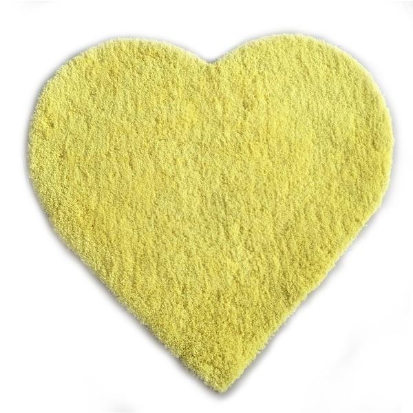 Shop Hand Tufted Heart Shaped Yellow Shag Area Rug 3 X 3