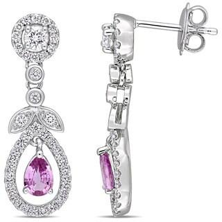 Miadora Signature Collection 14k White Gold Pear-Cut Pink Sapphire 7/8ct TDW Diamond Halo Teardrop Flower Earrings