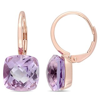 Miadora Signature Collection 14k Rose Gold Cushion Checkerboard-Cut Rose de France Leverback Earrings