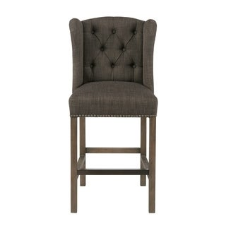 Madison Park Lydia Charcoal Tufted Wing Counter Stool