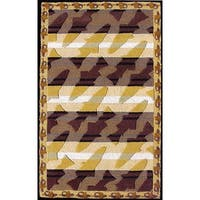 The Rug Market Handmade Hooked and Tufted Bass Stripe Brown Wool Area Rug