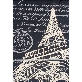 The Rug Market Hand-hooked and Tufted Eiffel Tower Multicolor Flannel Area Rug (5' x 8')
