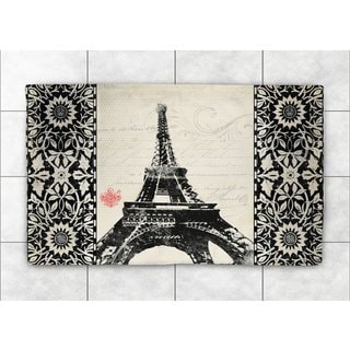 Laural Home Woven Eiffel Tower Pattern Black   Accent Rug (2'X3')