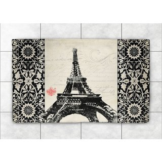 Laural Home Woven Eiffel Tower Pattern Black Accent Rug - 2'X3'