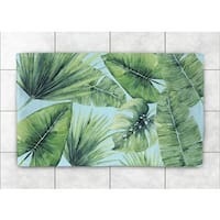 Laural Home Woven Palm Leaves in Paradise Green Accent Rug (4' x 6')