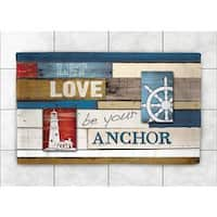Laural Home Woven Nautical Words Multicolored Accent Rug