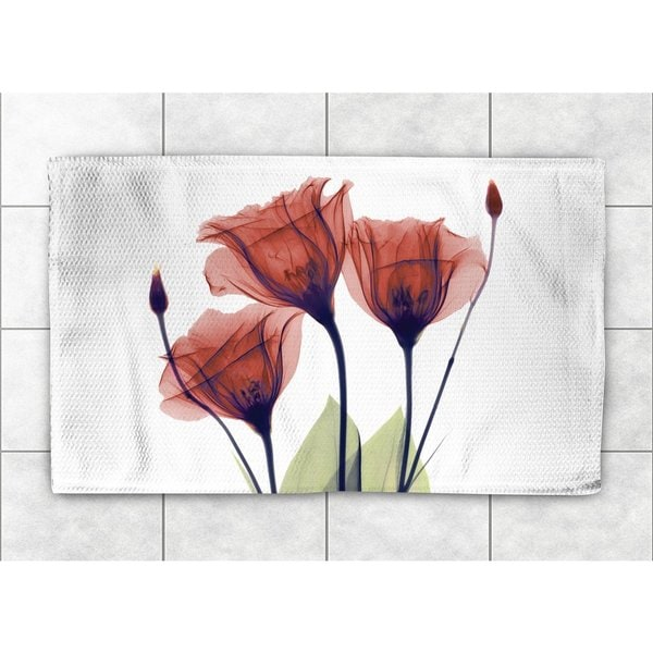 Laural Home Woven X-Ray Gentian Flower Red Accent Rug (4' x 6')
