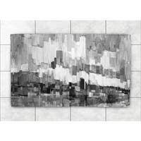 Laural Home Black and White Brushstrokes Accent Rug - 4' x 6'
