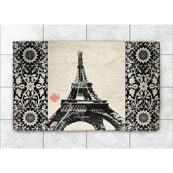 Laural Home Woven Eiffel Tower Pattern Black and White   Accent Rug (4'X6')