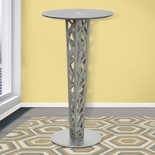 Armen Living Crystal Grey Walnut Veneer Stainless Steel Pub Table