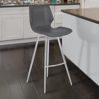 Armen Living Zurich Vintage Grey Faux Leather Brushed Stainless Steel Metal Barstool