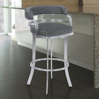 Armen Living Prinz Grey Faux Leather Stainless Steel Barstool