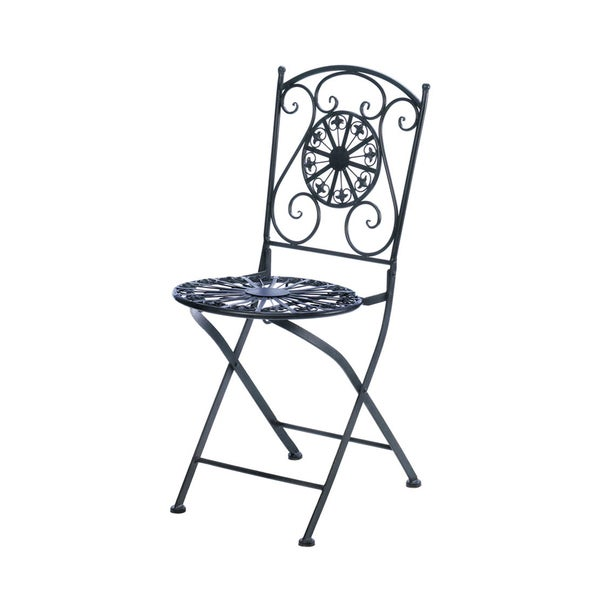 Koehler Home Decor Fleur De Lis Black Iron Patio Chair