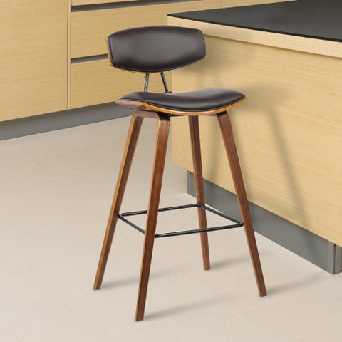 Armen Living Fox Mid-century Brown Faux Leather Barstool with Walnut Wood Frame