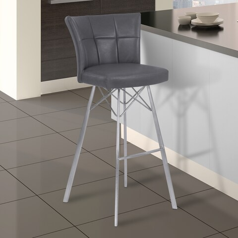 Armen Living Spago Grey Faux Leather Stainless Steel Barstool