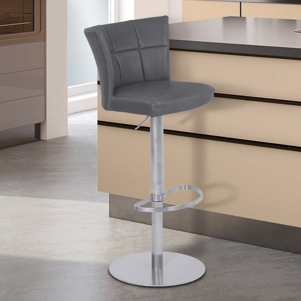 Armen Living Encore Vintage Grey Faux Leather Adjustable Metal Barstool with Brushed Stainless Steel Frame