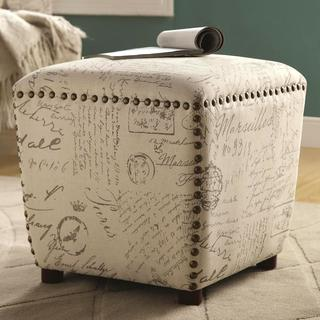 Living Room Upholstered Ottoman with Nailhead Trim