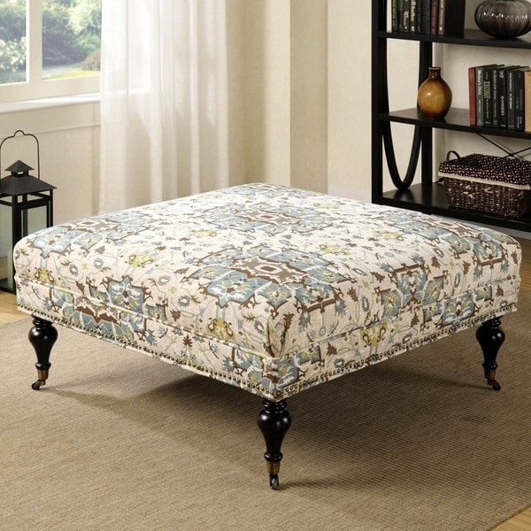 Living Room Traditional Large Square Ottoman Bench With Nailhead Trim And Metal Casters