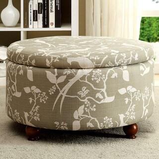 Round Storage Ottoman with Bird Floral Print