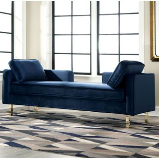 Modern Design Navy Accent Double Chaise Sofa