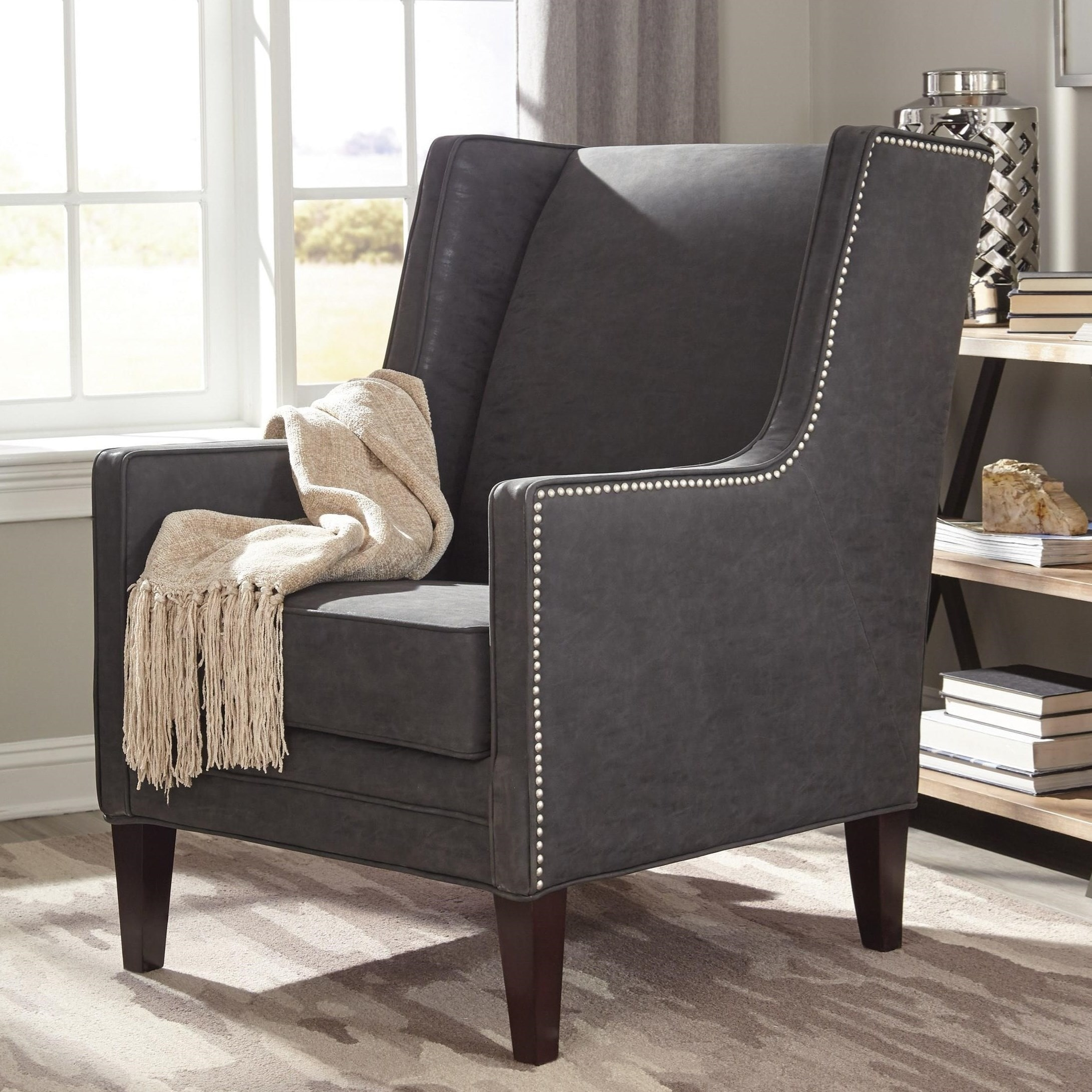 Wingback Modern Design Living Room Charcoal Grey Accent Chair