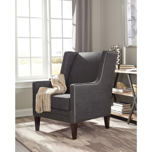 wingback modern design living room charcoal grey accent chair free shipping today