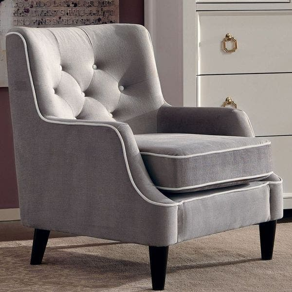 Shop Button Tufted Design Grey Living Room Accent Chair with ...