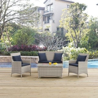 Modway Bridge Off-white Rattan 4-piece Outdoor Patio Conversation Set with Cushions and Pillows