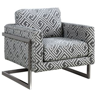 Living Room Floating Design Modern Accent Chair with Brushed Chrome Base