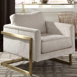 Living Room Floating Design Modern Accent Chair with Brushed Brass Frame